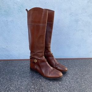 Tory Burch Women's Brown Leather Buckle Tall Ridin
